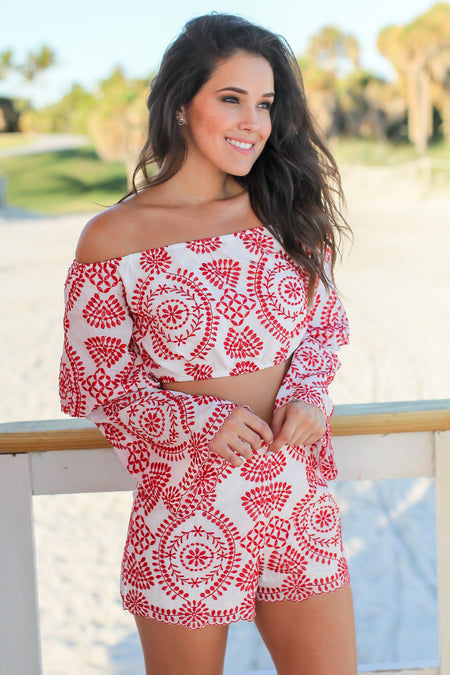 Ivory and Red Embroidered Set