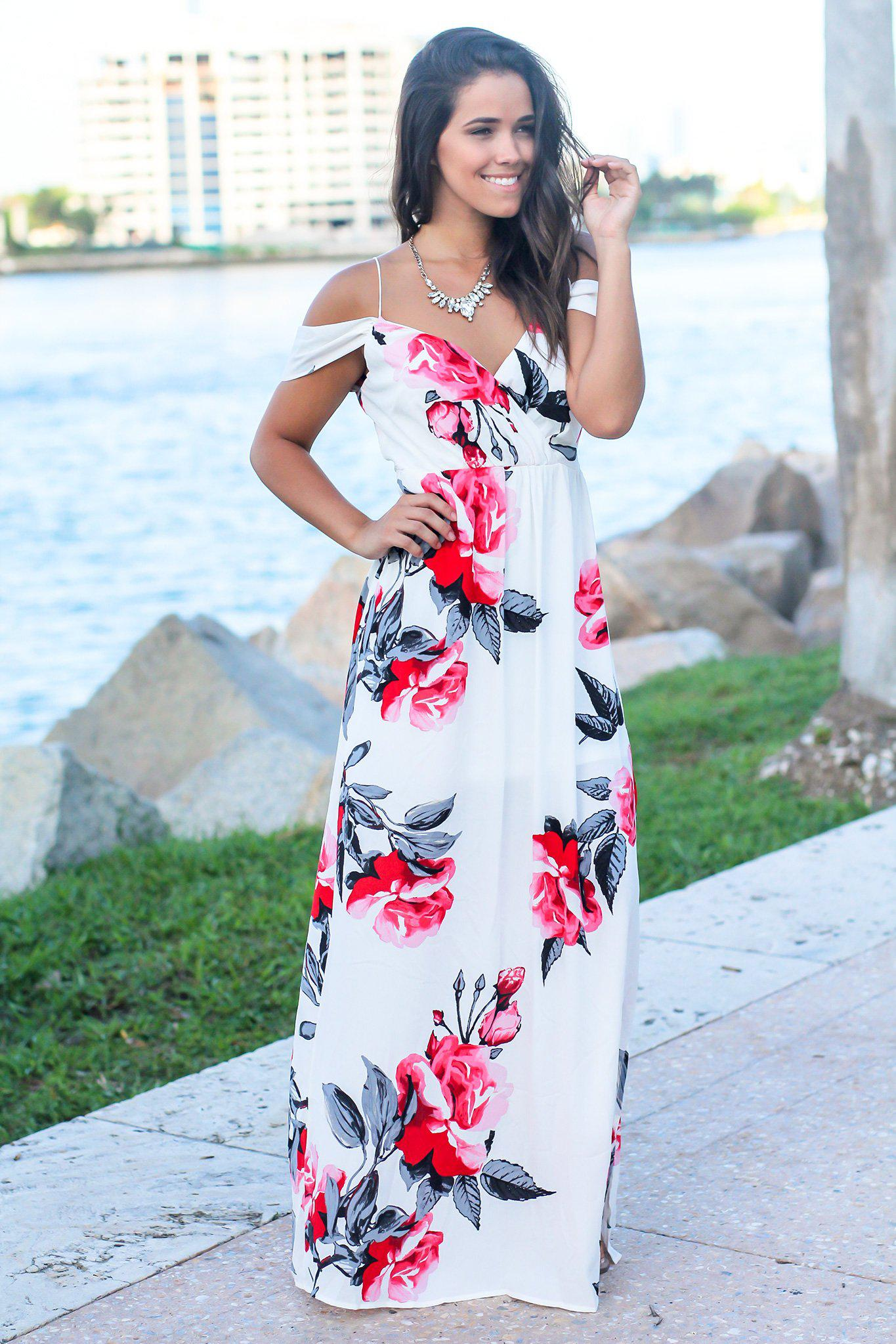 Ivory and Red Floral Maxi Dress