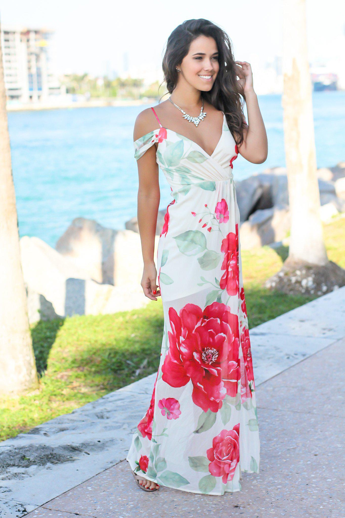Ivory and Red Floral Off Shoulder Maxi Dress with Side Slit