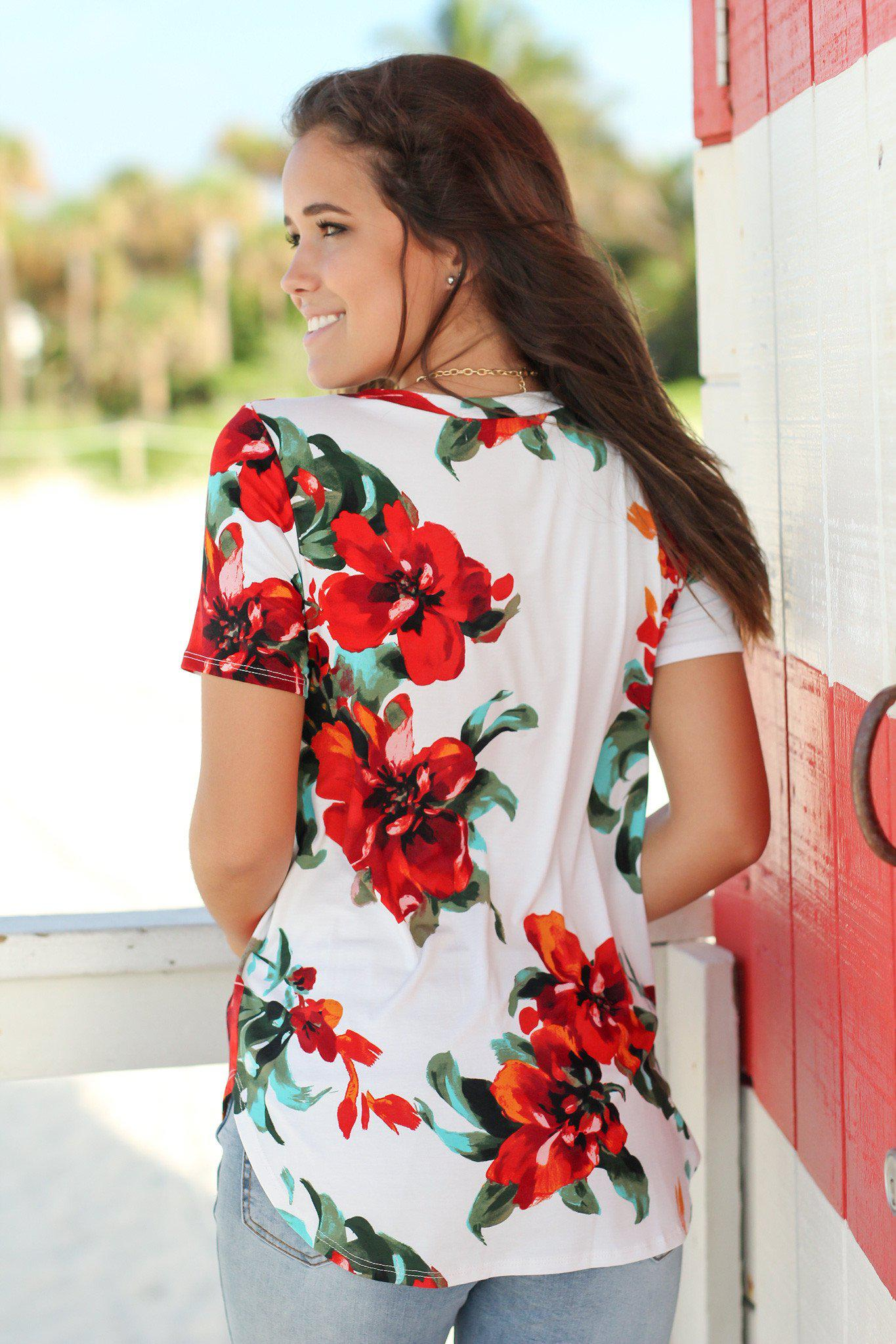 Ivory and Red Floral Top