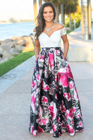 Ivory and Rose Off Shoulder Floral Maxi Dress with Crochet Top