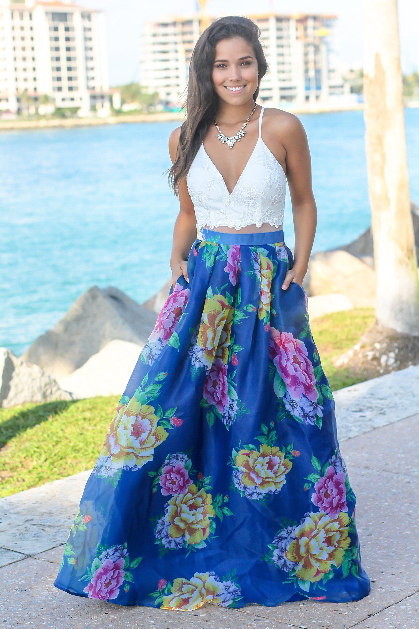 67fd8ba8fd Ivory and Royal Blue Floral Maxi Dress with Criss Cross Back with Criss  Cross Back | Maxi Dresses – Saved by the Dress