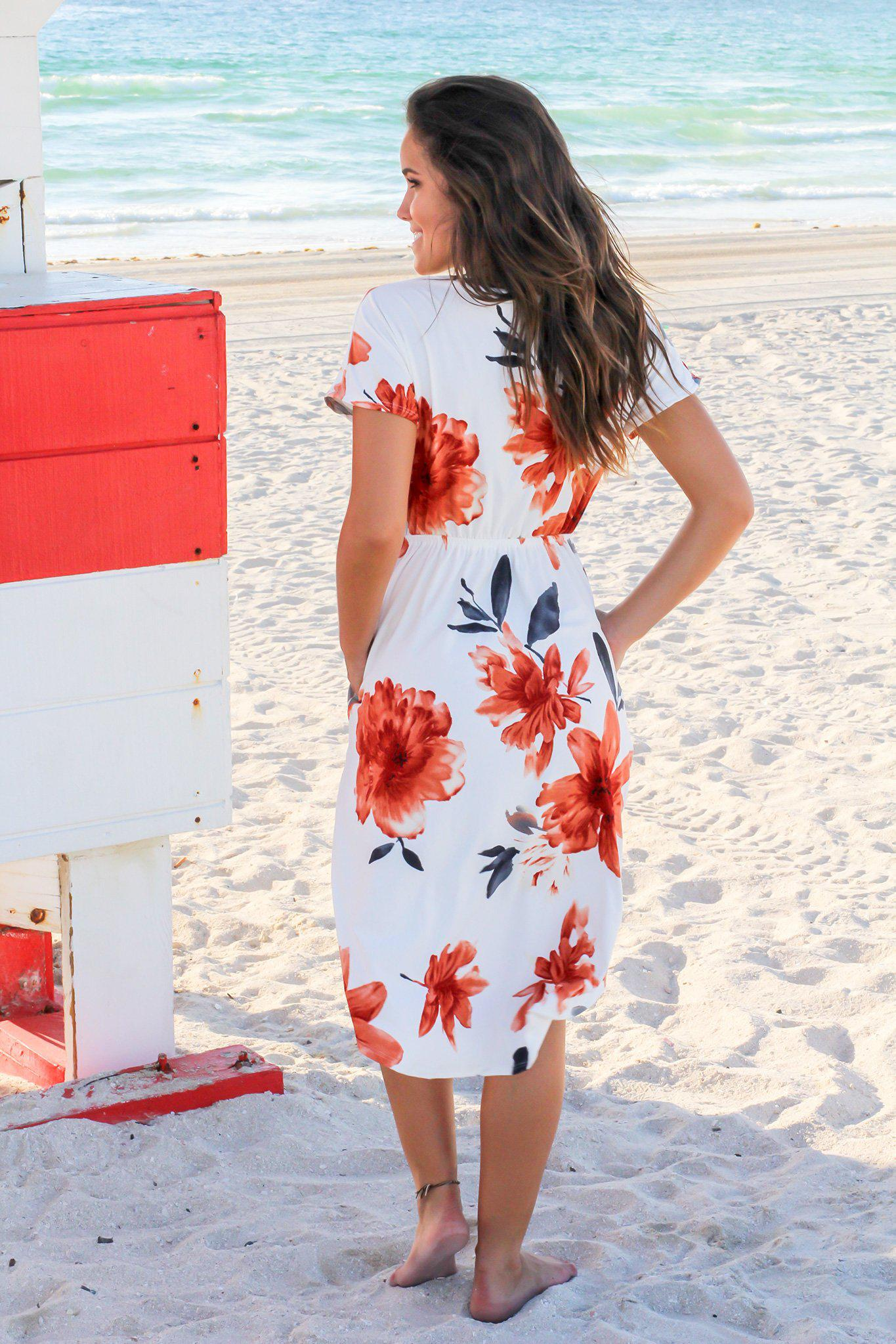 Ivory and Rust Floral Midi Dress