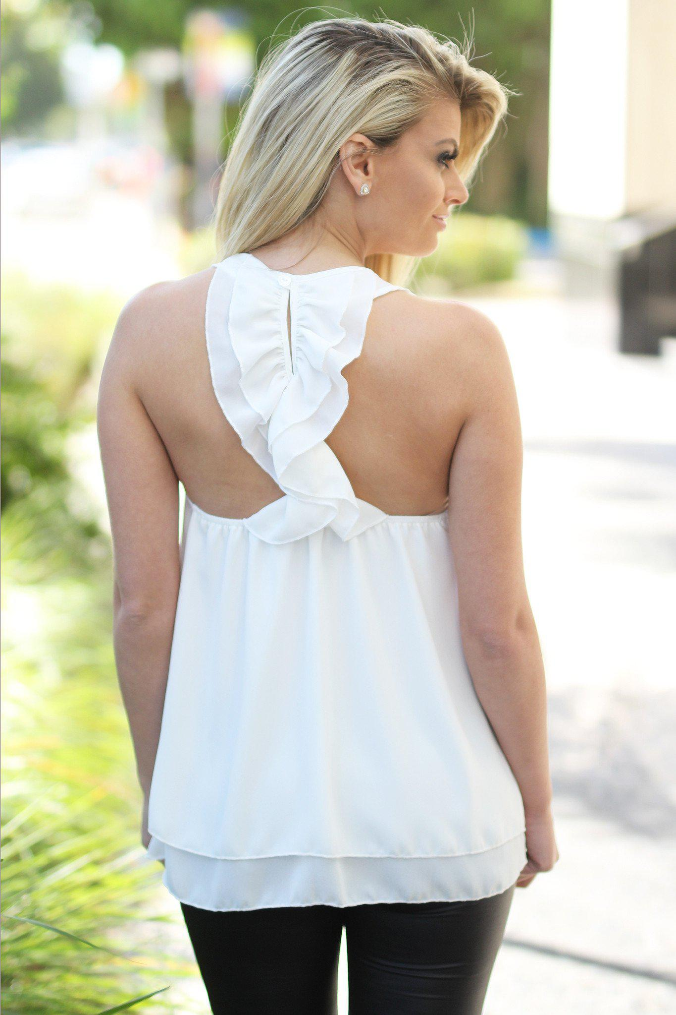 Ivory Top with Ruffle Racer Back