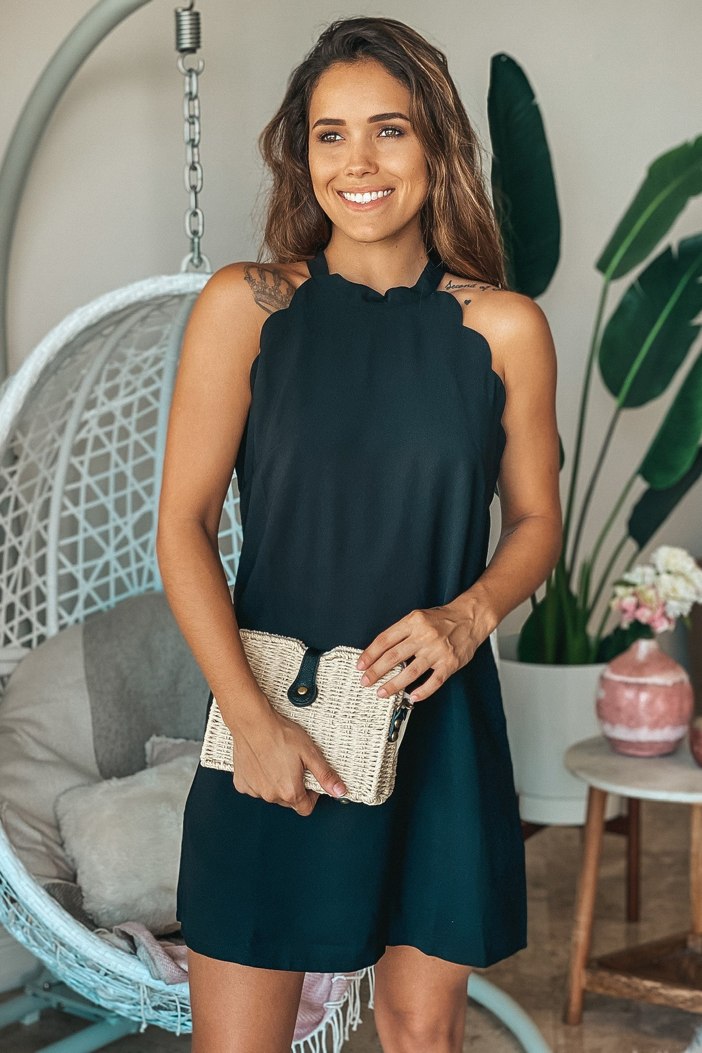 Lifestyle black scalloped short dress