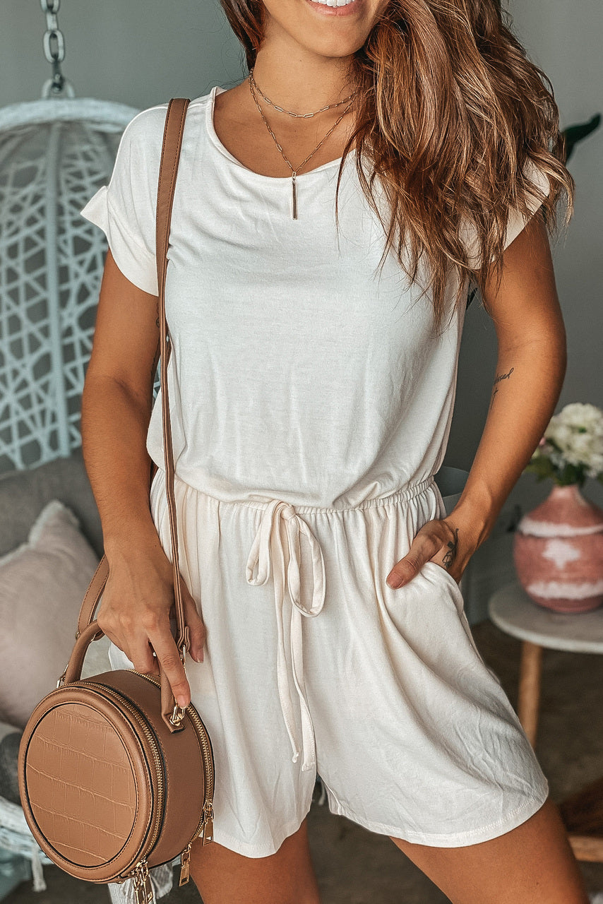 Lifestyle Cream Tie Waist Romper With Pockets