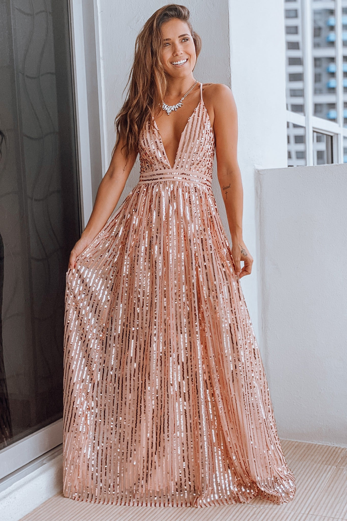Rose Gold V Neck Maxi Dress with Sequins