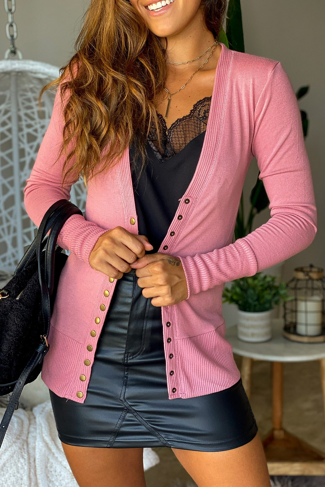 Dusty Rose Button Up Cardigan