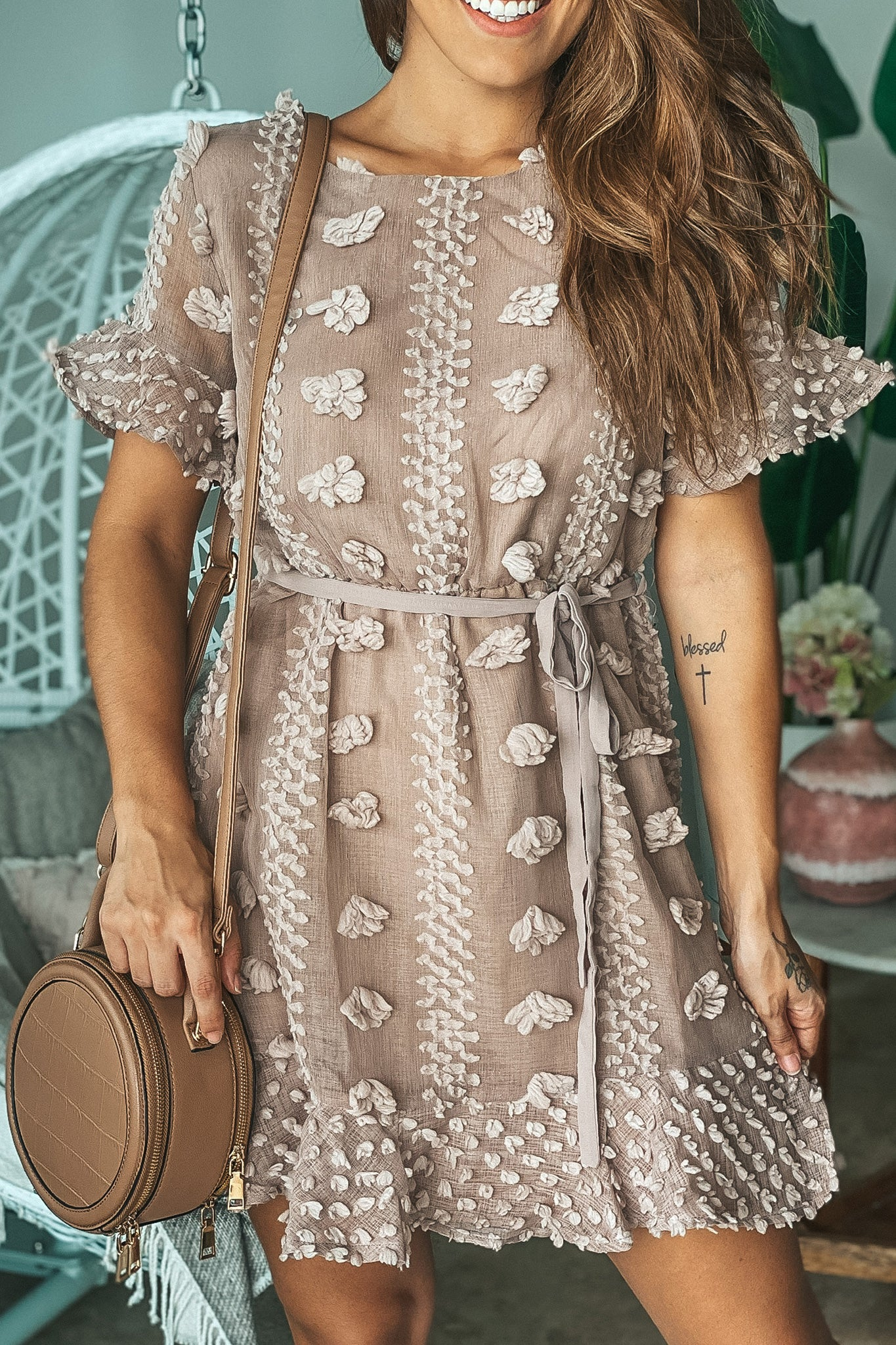 Lifestyle mocha embellished short dress with tie front