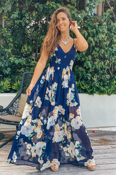 Navy V-Neck Floral Maxi Dress with Open Back