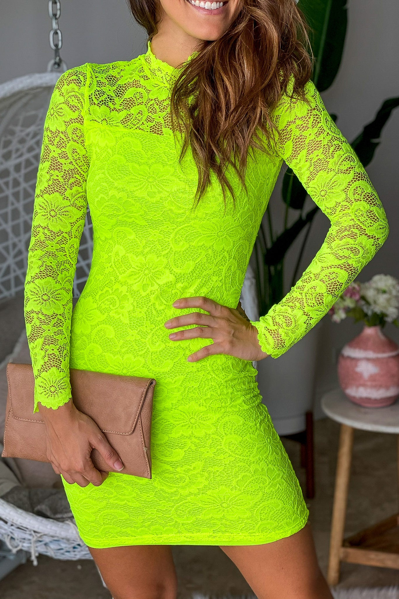 Neon Lime Laced Short Dress