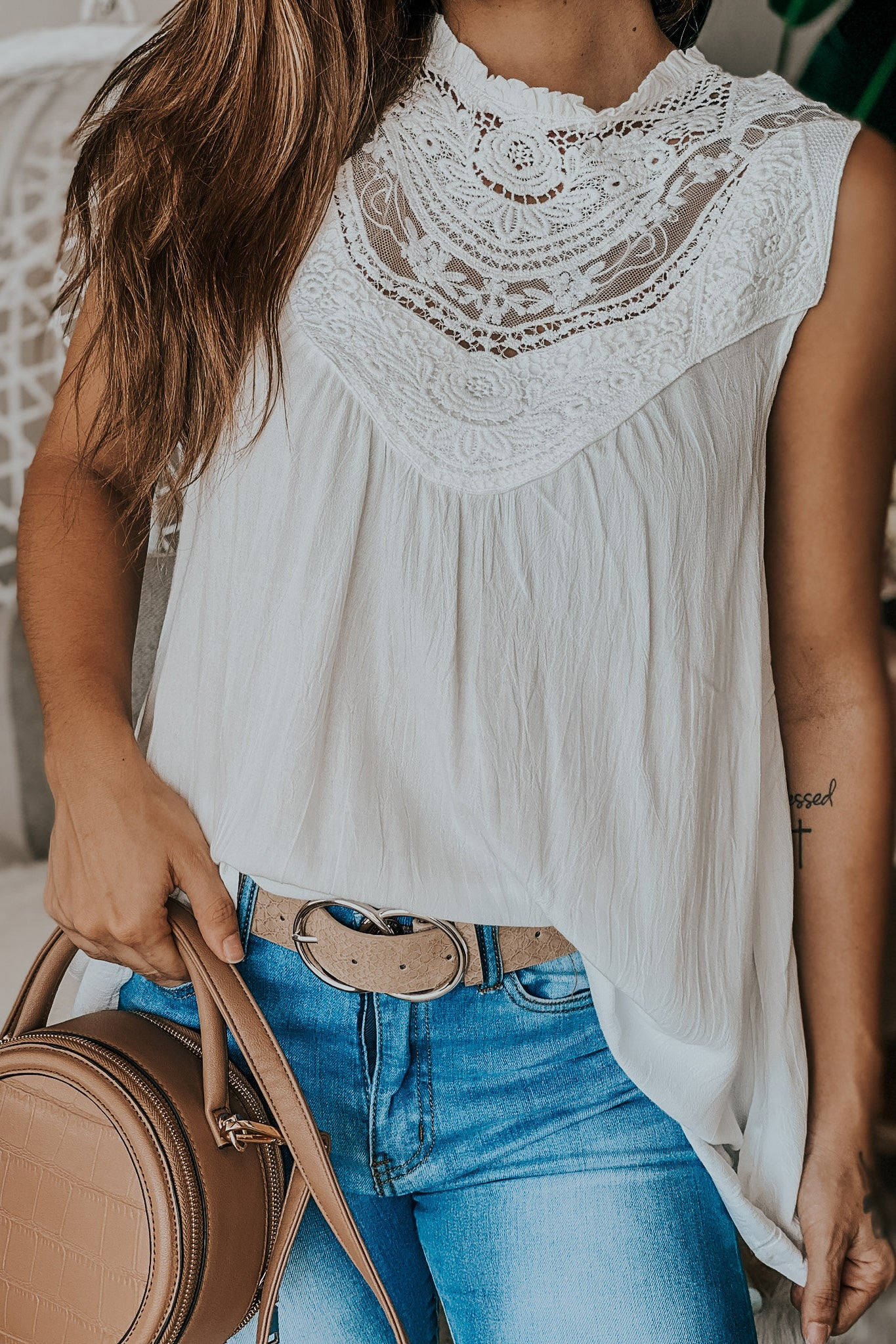 Off white top with crochet details