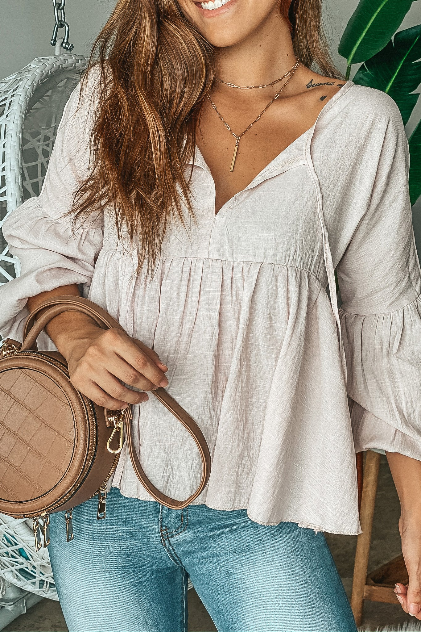 Lifestyle taupe babydoll top