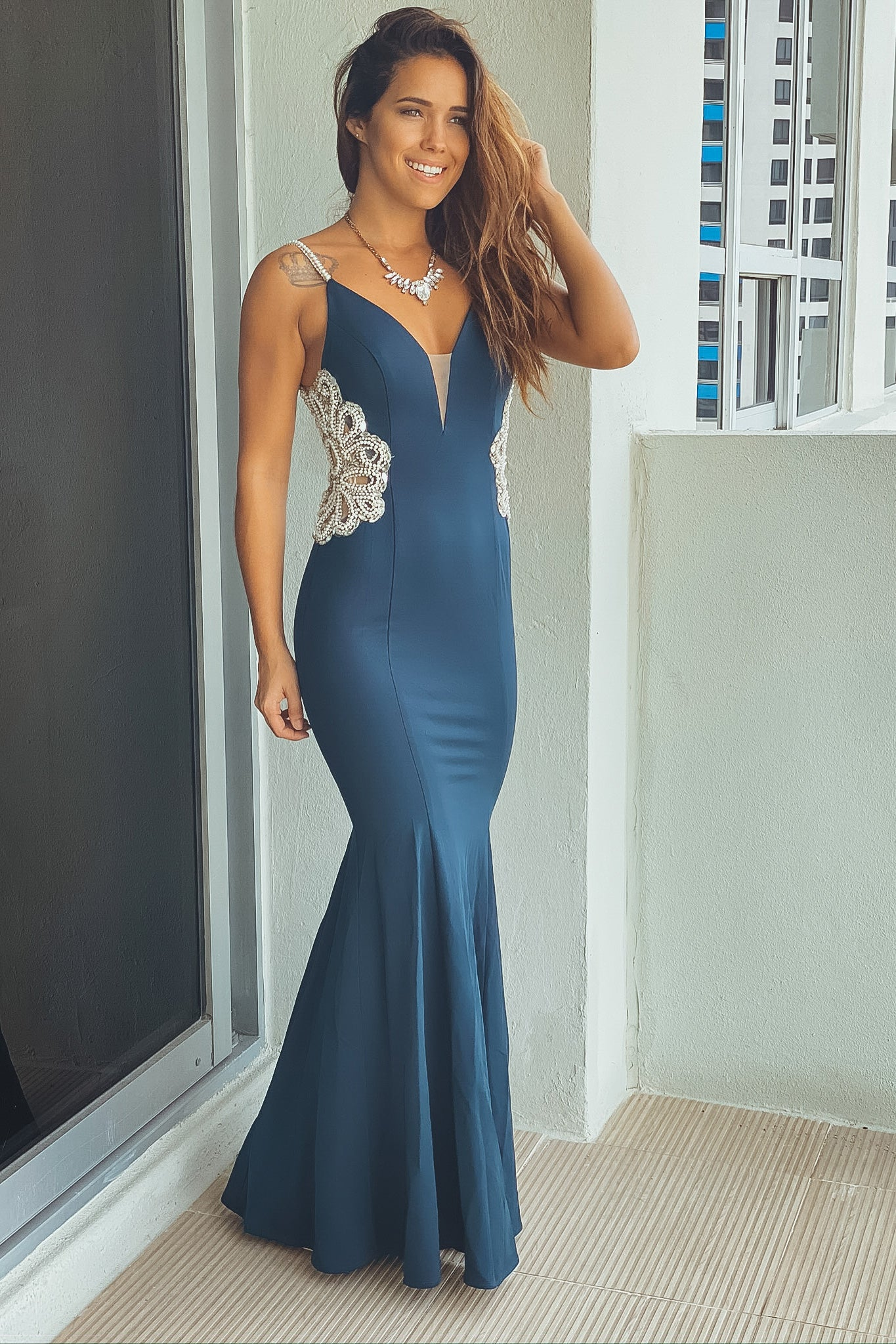 Lifestyle teal maxi dress with jeweled detail