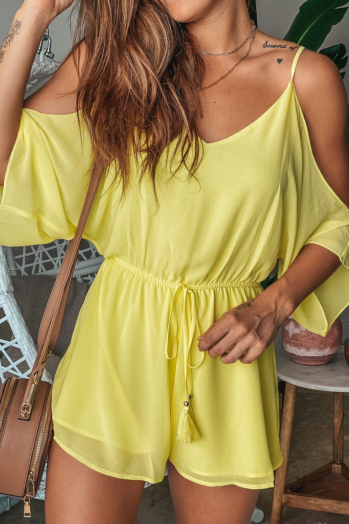 Lifestyle yellow cold shoulder romper