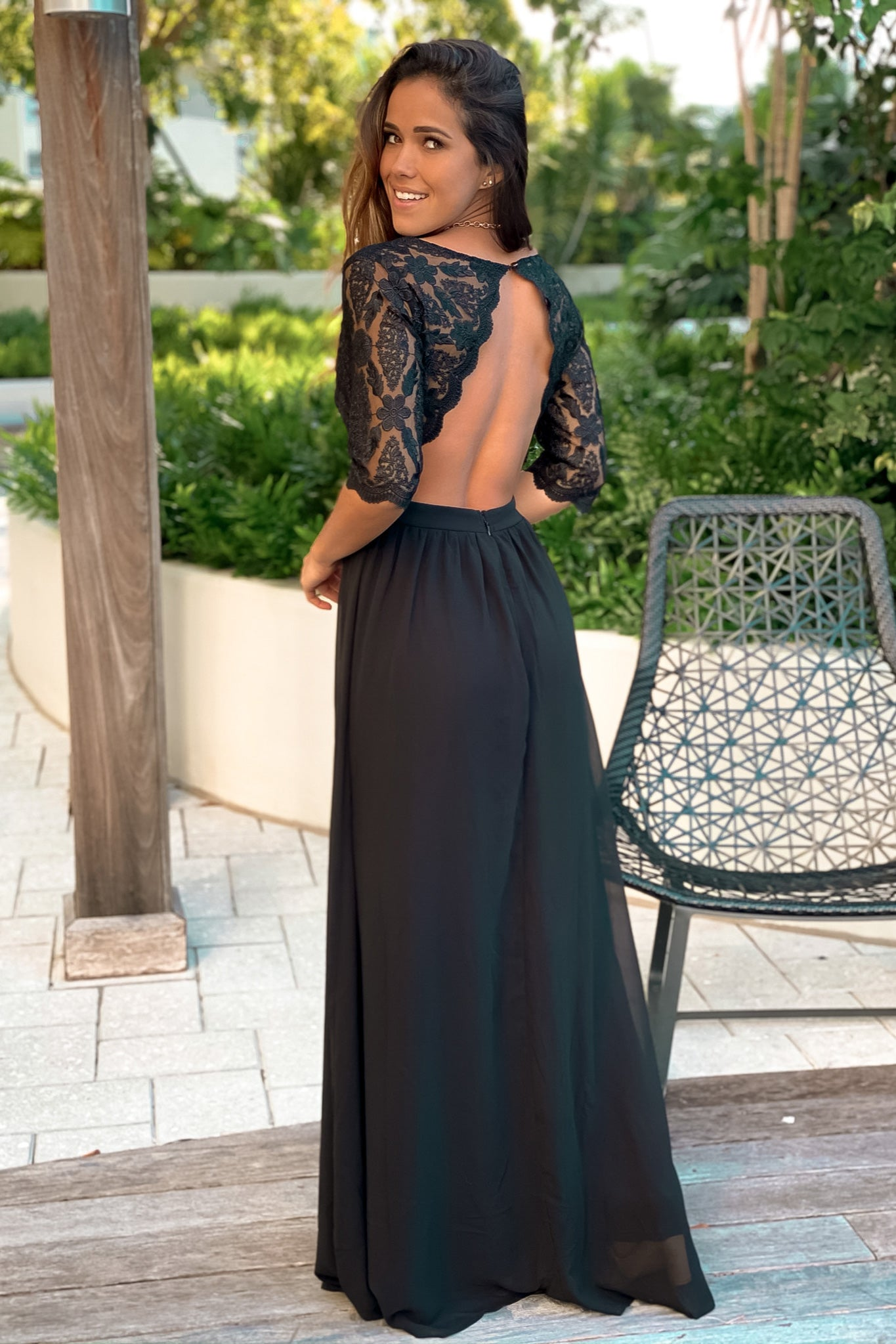 Black Embroidered Top Maxi Dress with Open Back