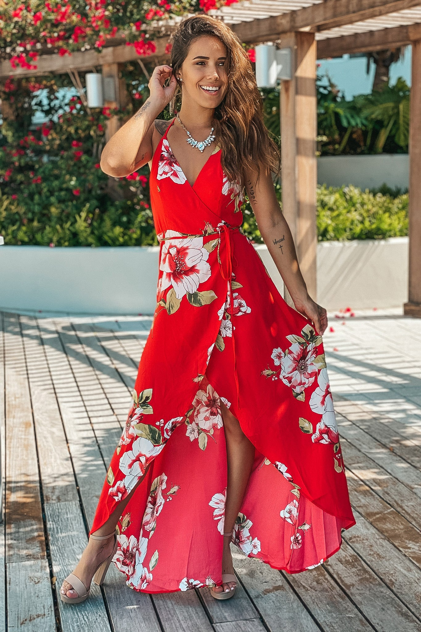 Lifestyle red floral high low wrap dress