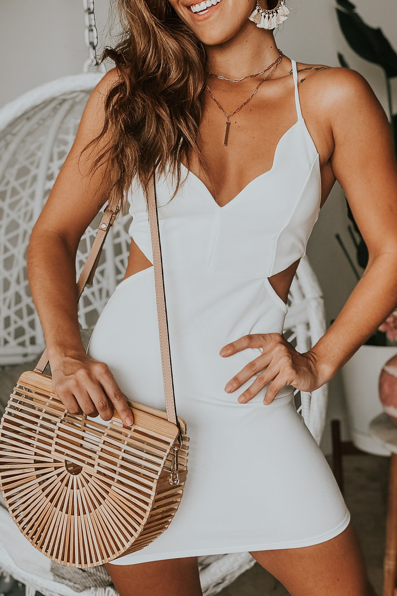 Lifestyle white cut out short dress with scalloped neck