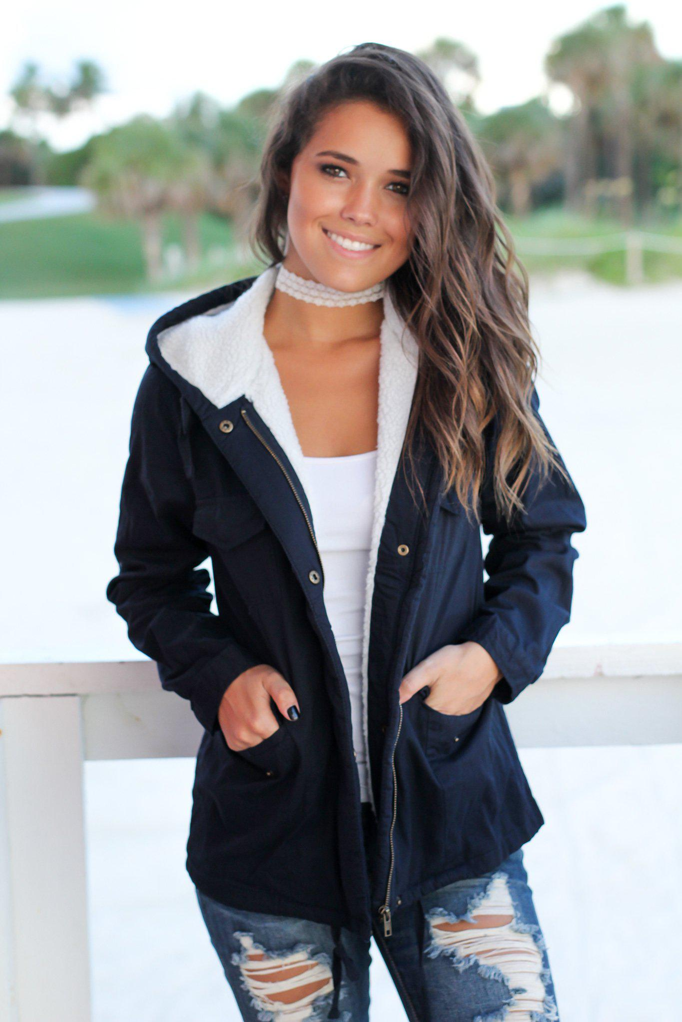 Navy Jacket with Wool Lined Hood