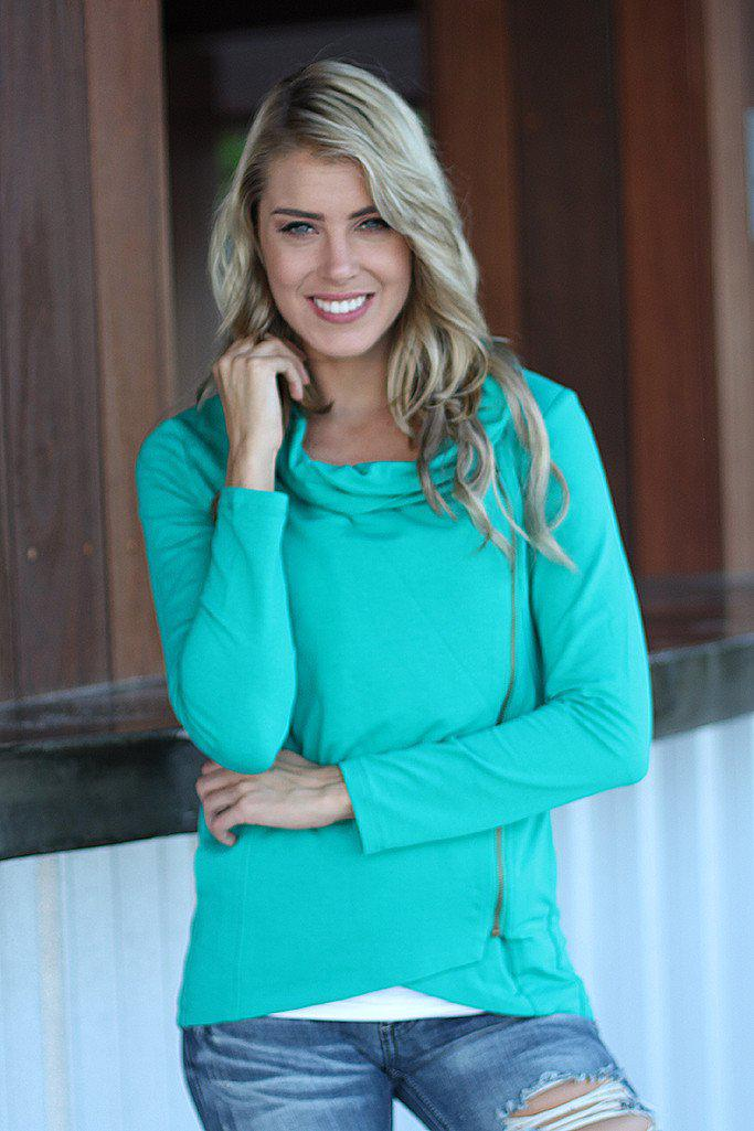 Jade Asymmetrical Jacket With Zipper