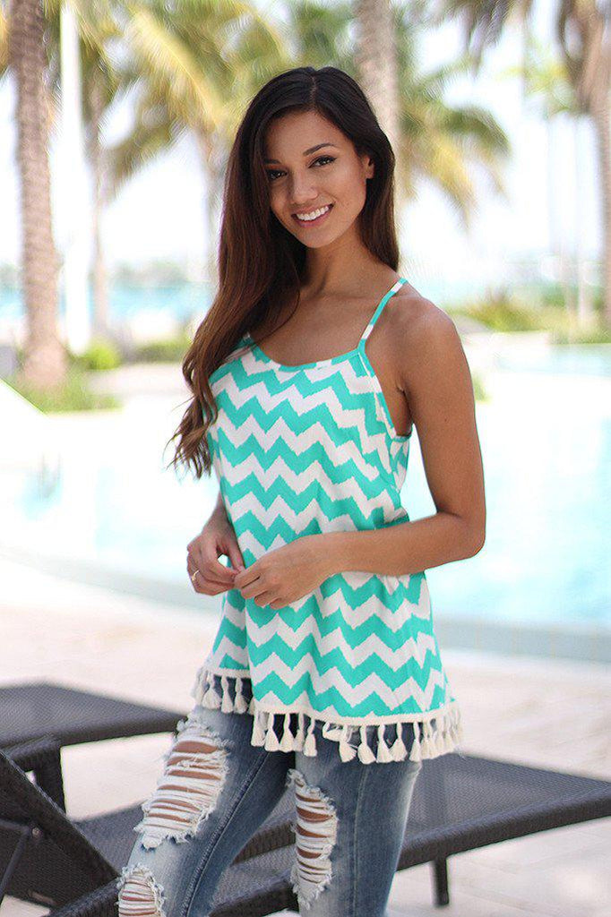 chevron jade tank top