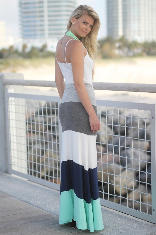 jade and navy long skirt