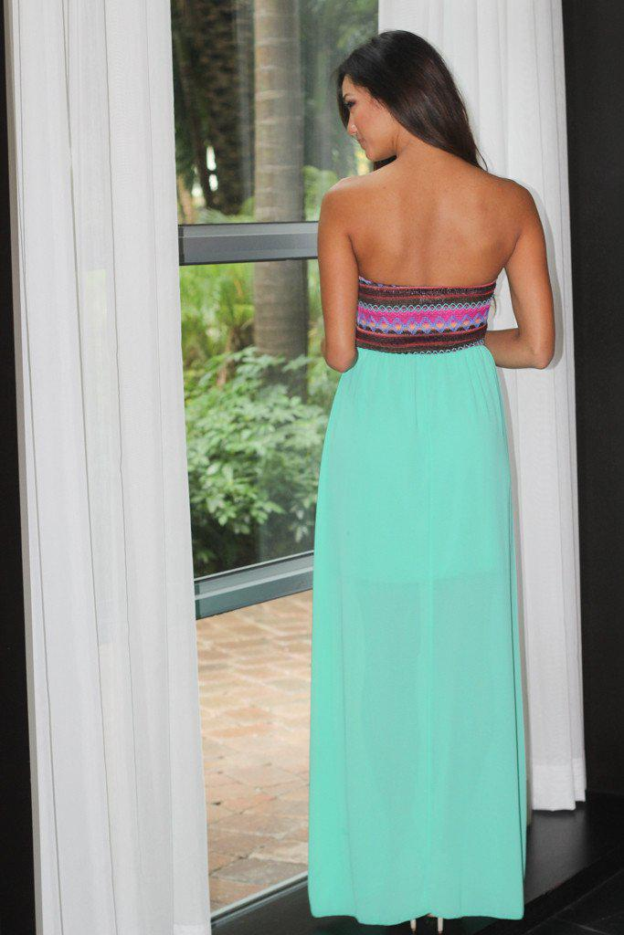 Jade Strapless Maxi Dress With Embroidered Top