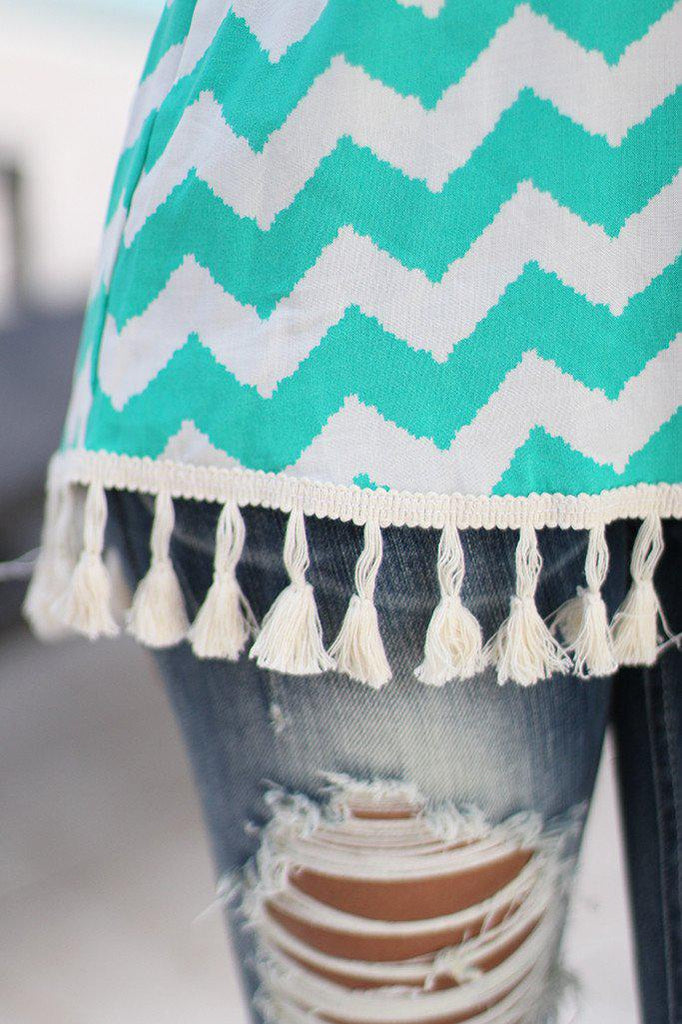 jade cute top with tassels
