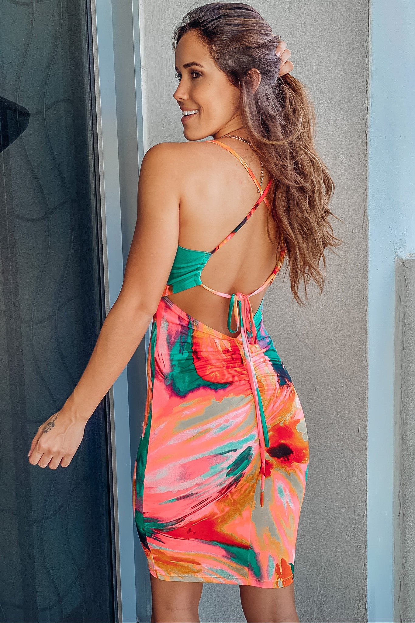 Jade Tie Dye Short Dress