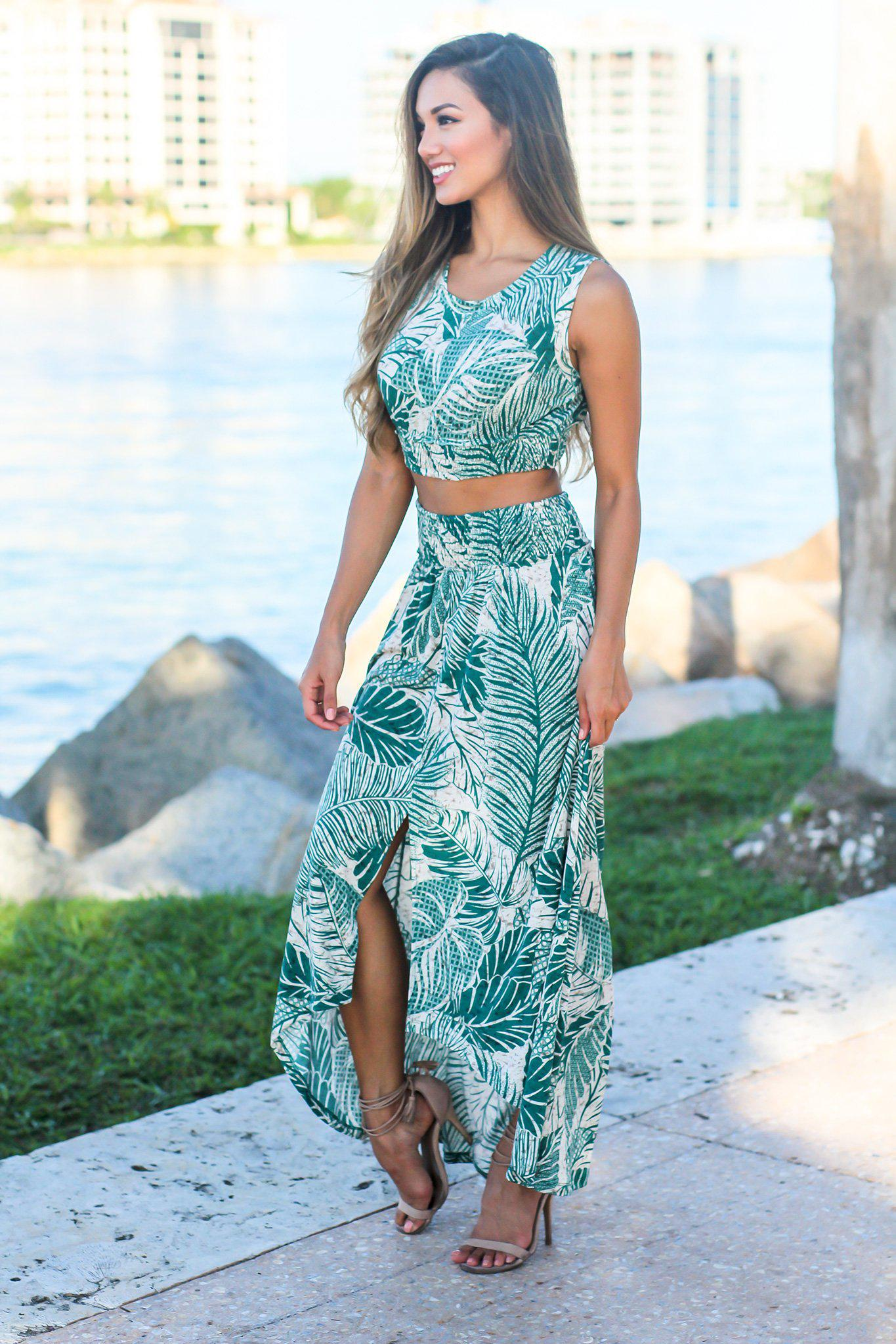 Jade Tropical Print Two Piece Set