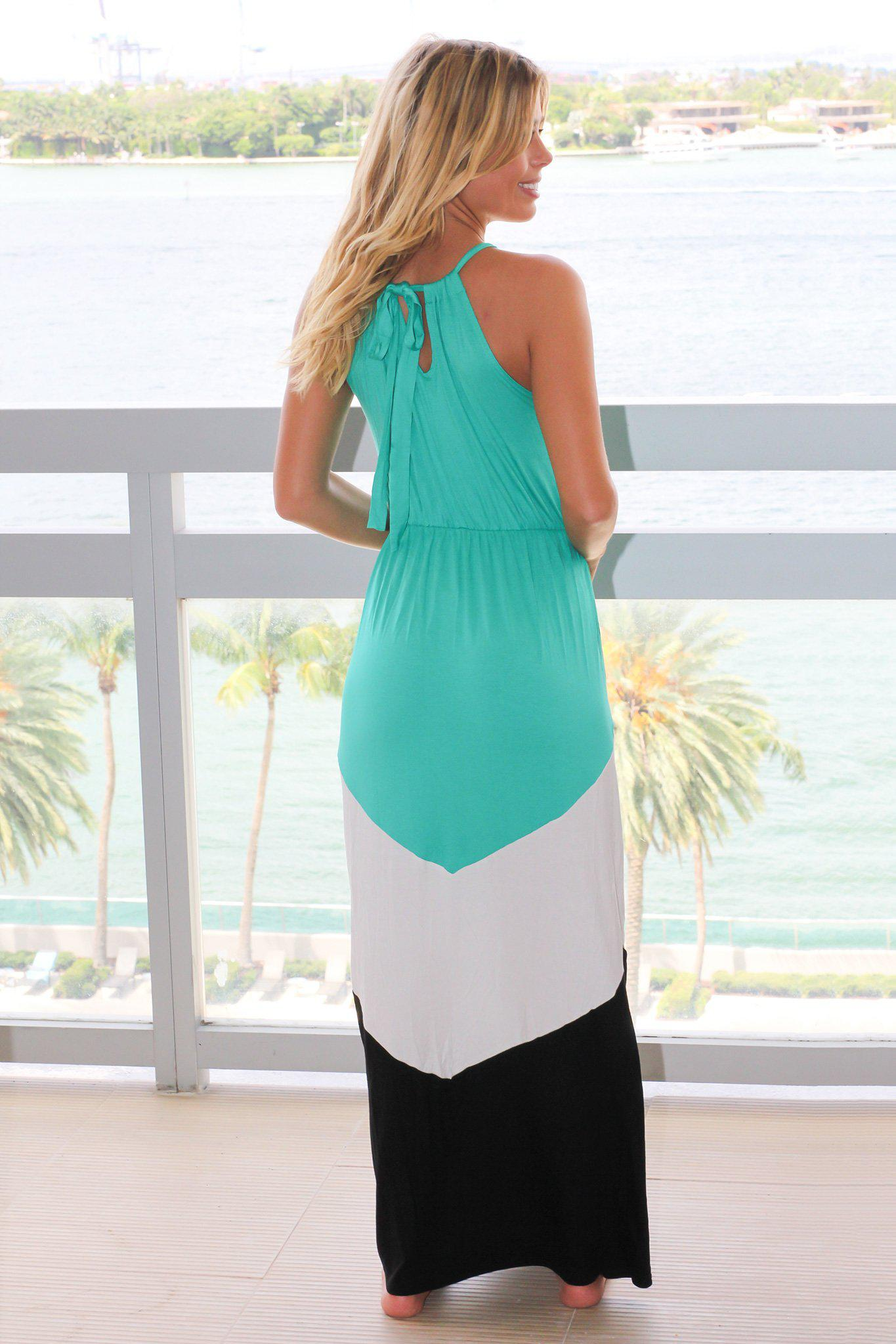Jade and Black Chevron Halter Neck Maxi Dress