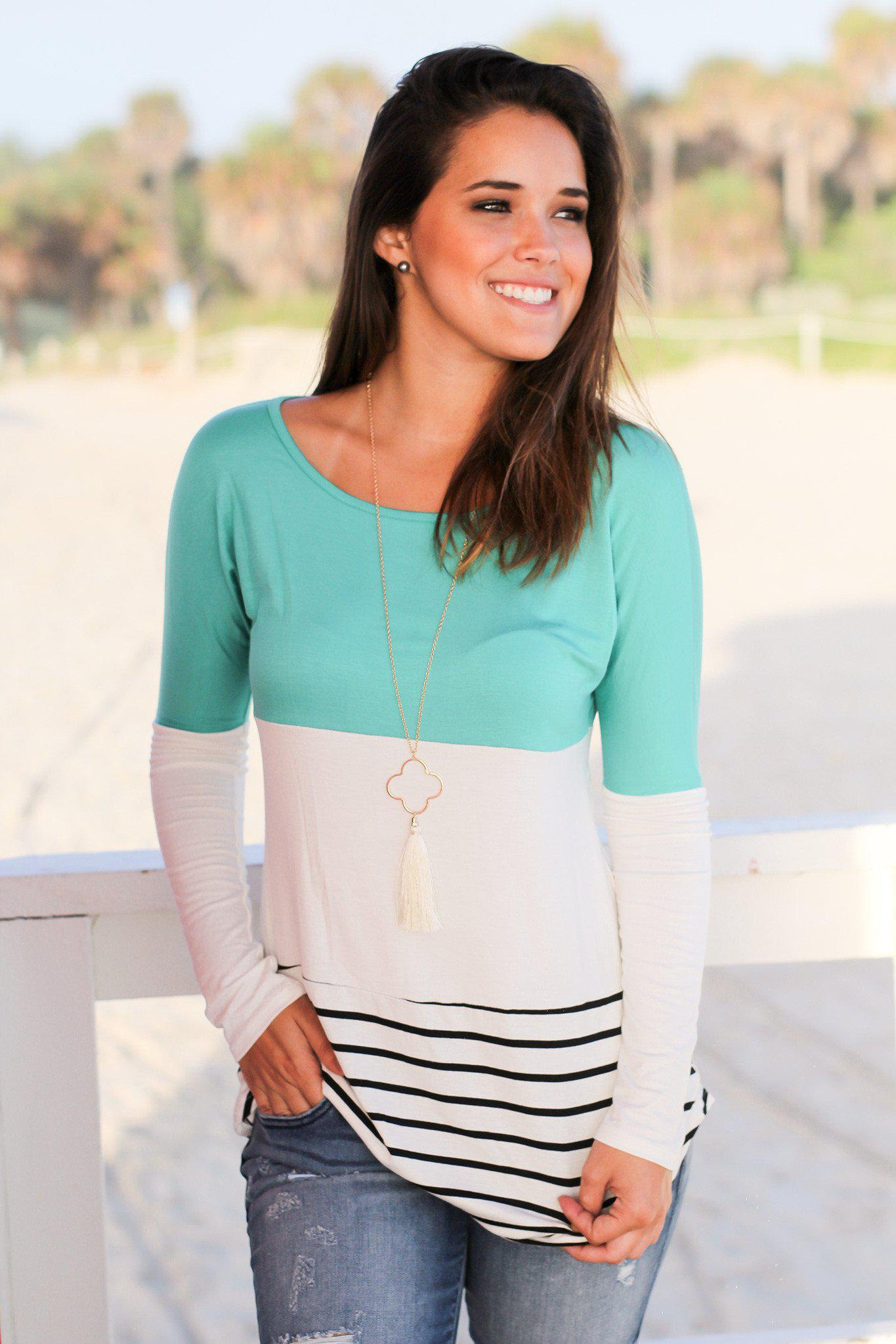 Jade and Ivory Color Block Top