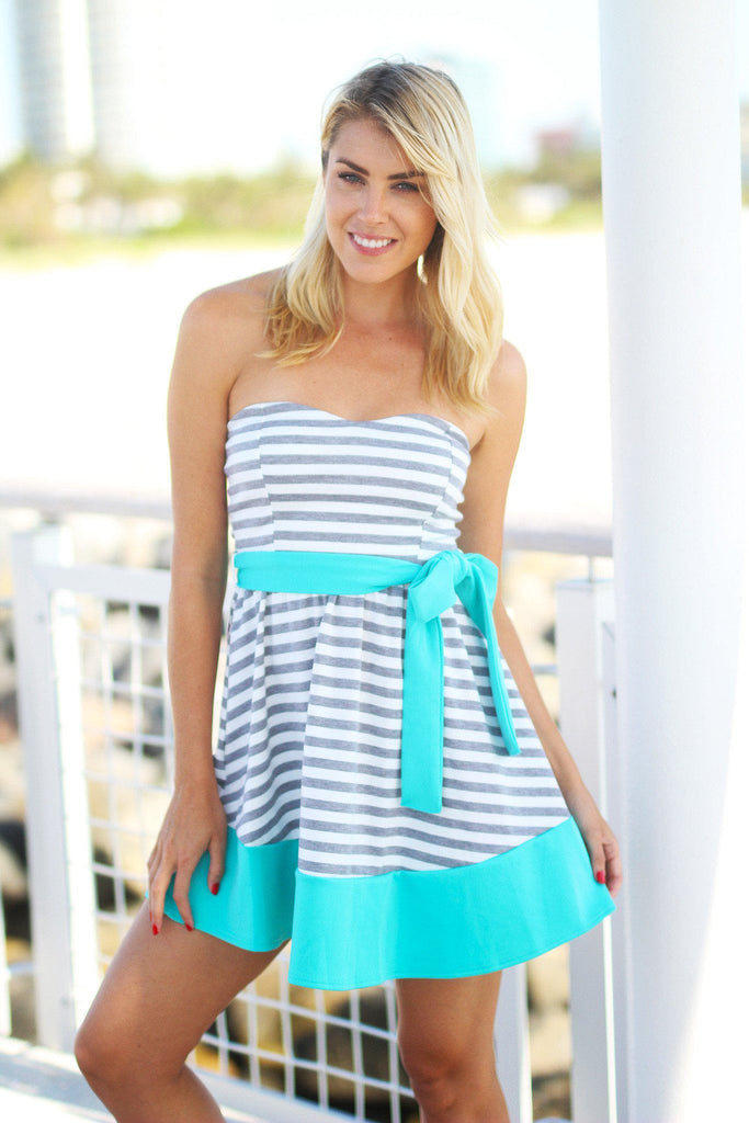 striped tie belt short dress