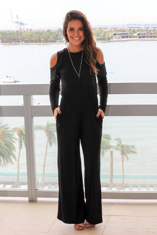 Black Cold Shoulder Jumpsuit with Ruffle Detail