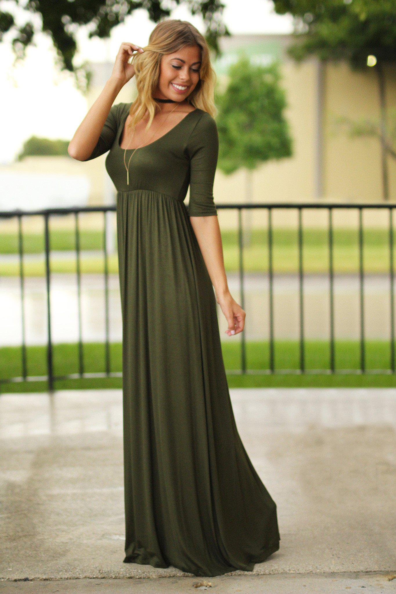 Olive Maxi Dress with Mid-Sleeves
