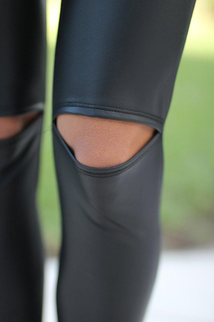 Black Cutout Knee Faux Leather Leggings
