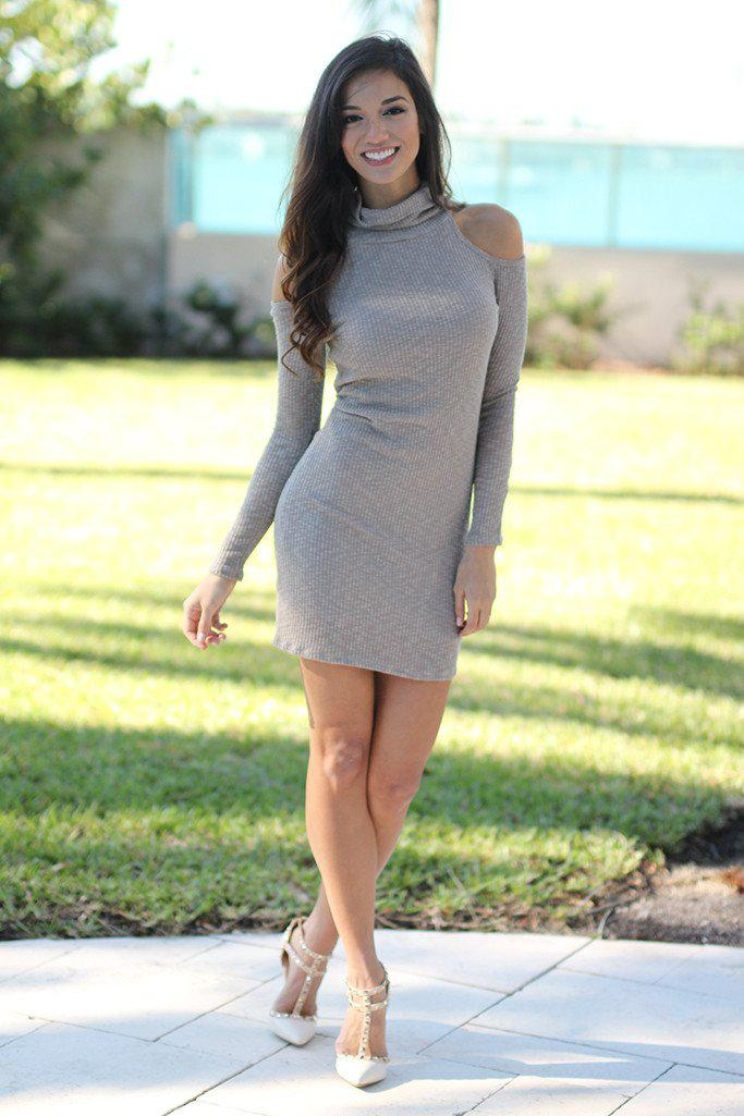 Taupe Knit Dress with Open Shoulder