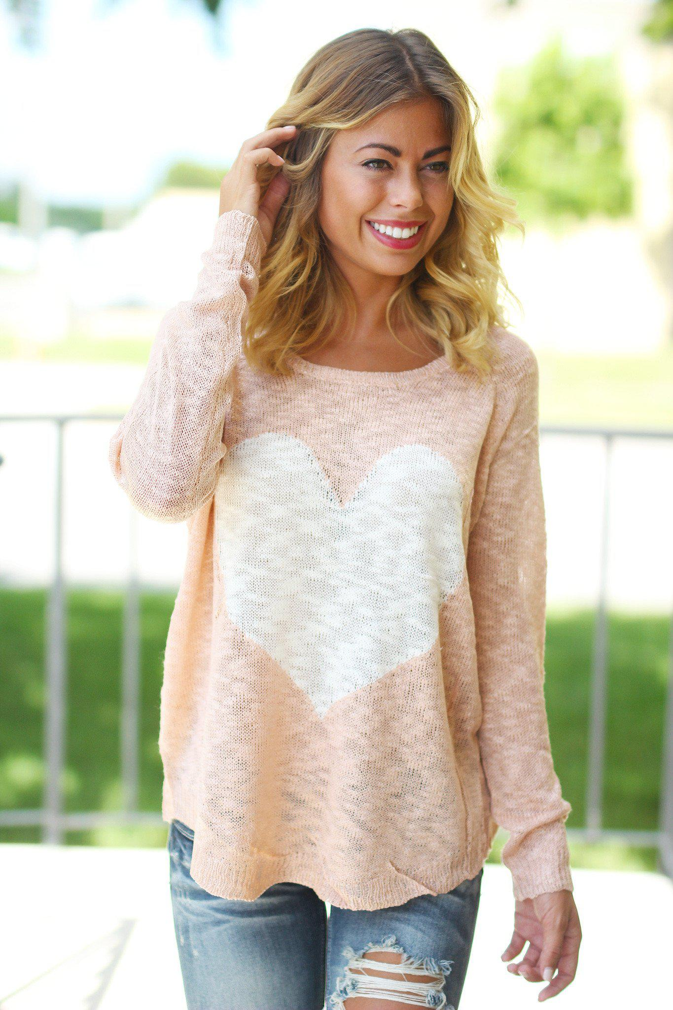 Pink Knit Sweater with Heart