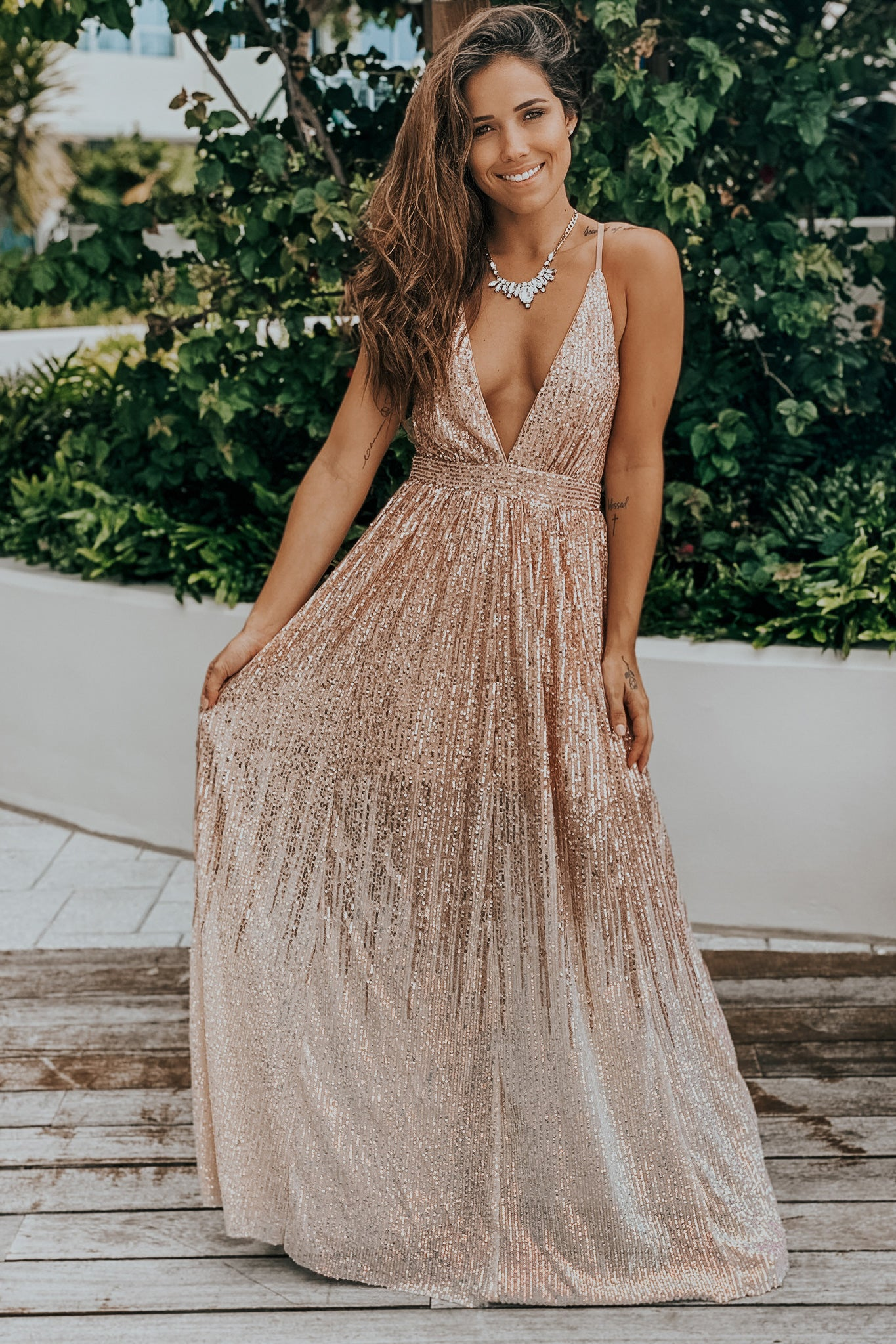 Rosegold ombre maxi dress