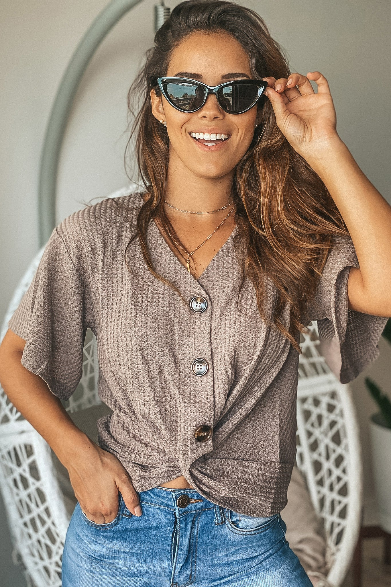 Taupe Gray Button Up Top