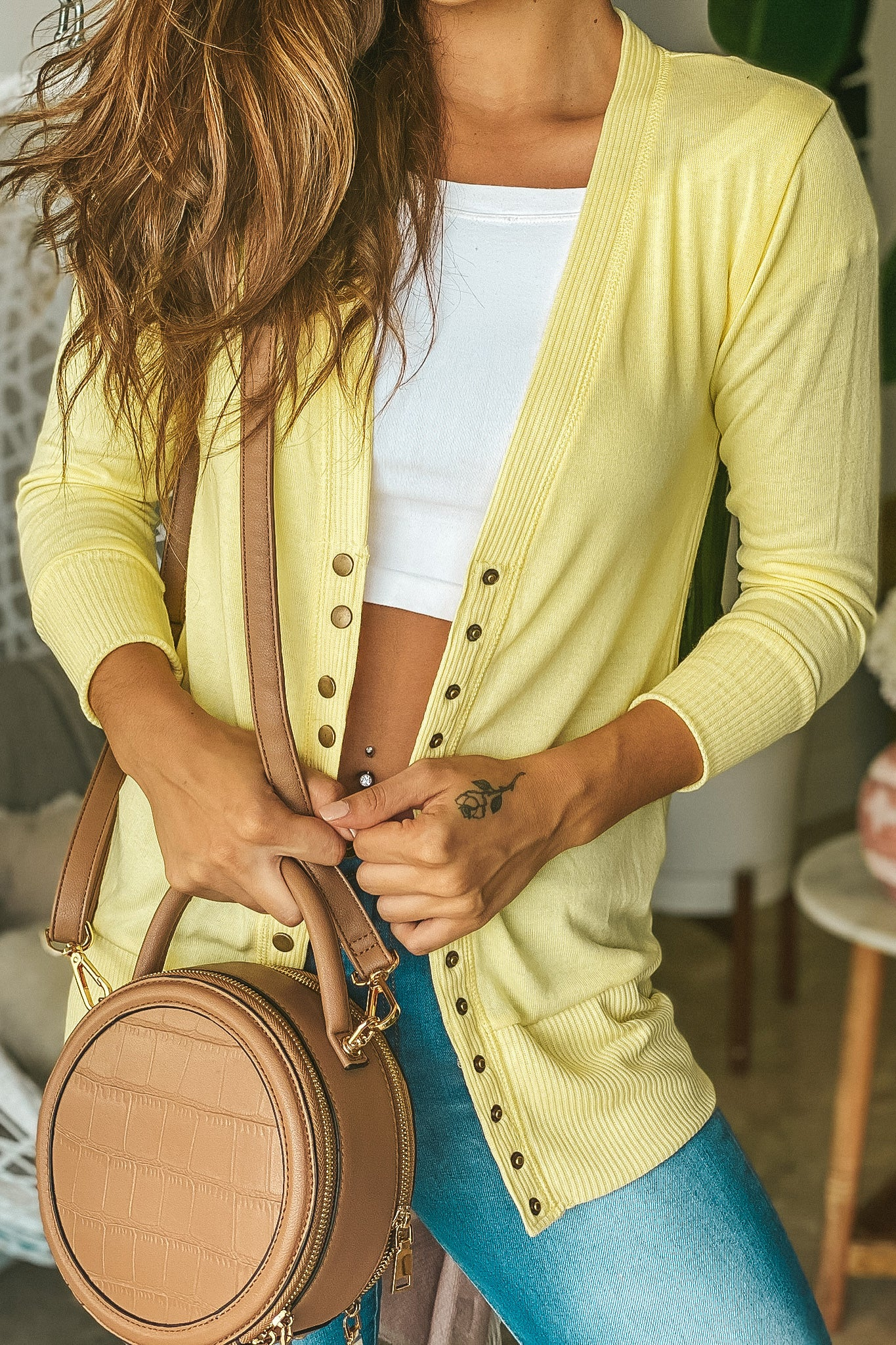 Lifestyle yellow and cardigan with 3/4 sleeves