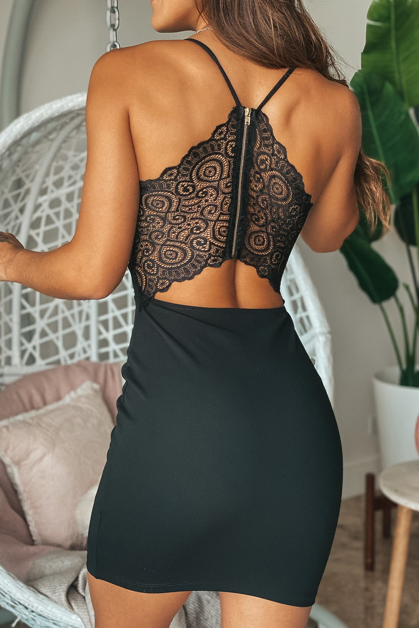 Lifestyle black bodycon short dress with lace back