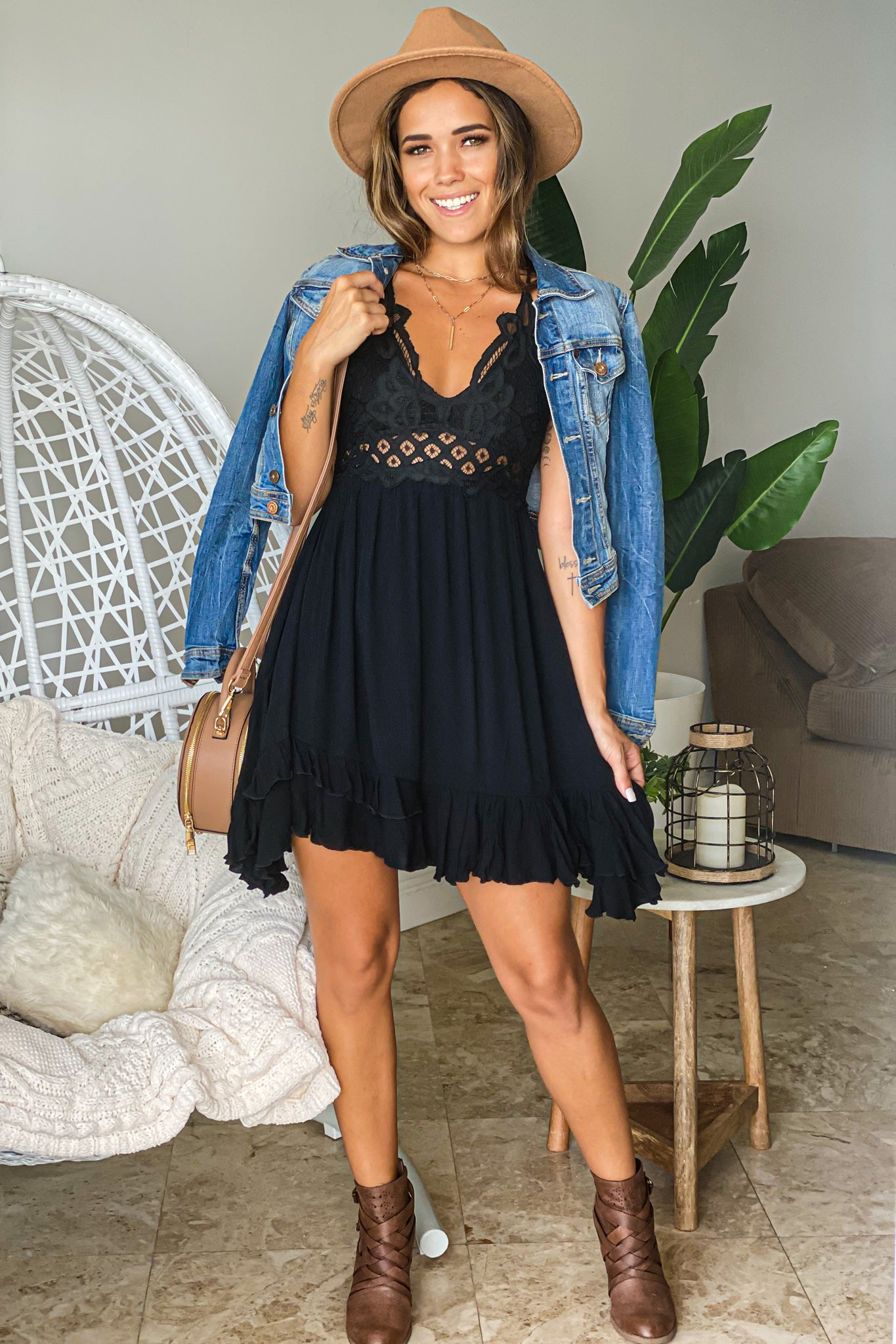 Lifestyle black crochet top short dress with criss cross back
