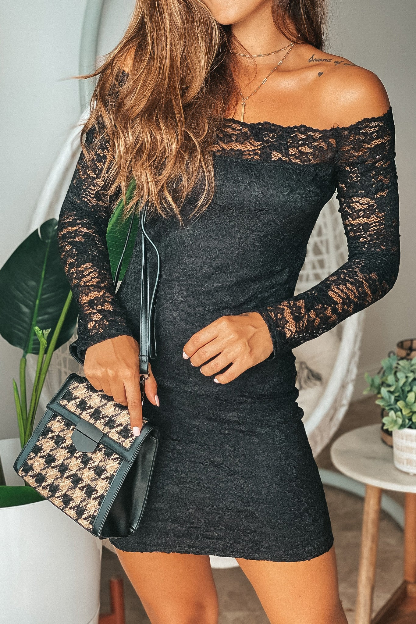 Lifestyle black lace off shoulder short dress with long sleeves