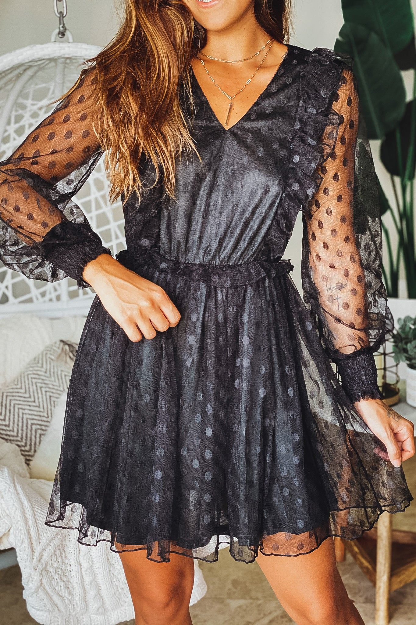 Lifestyle black mesh polka dot short dress