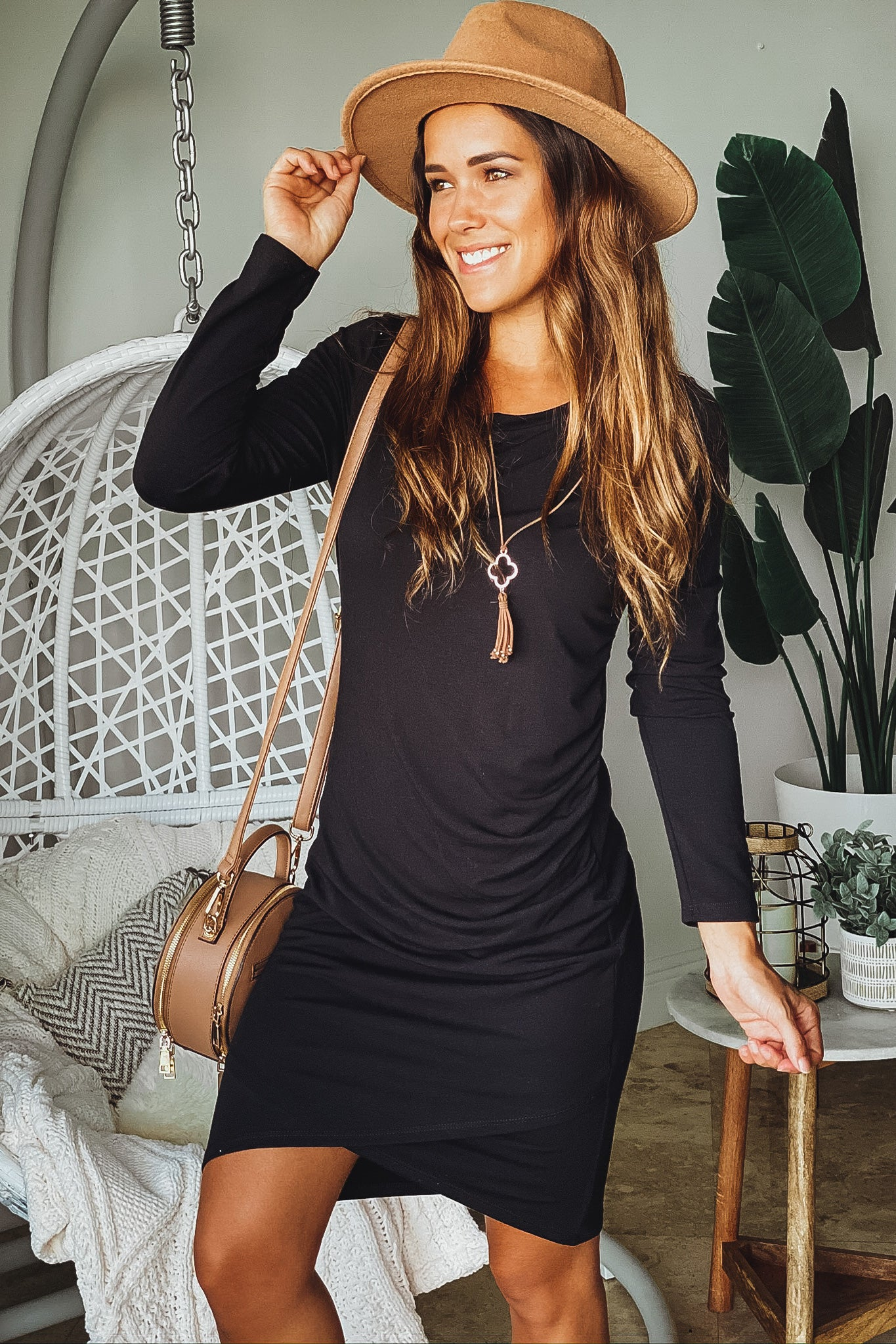 Lifestyle black midi dress with long sleeves