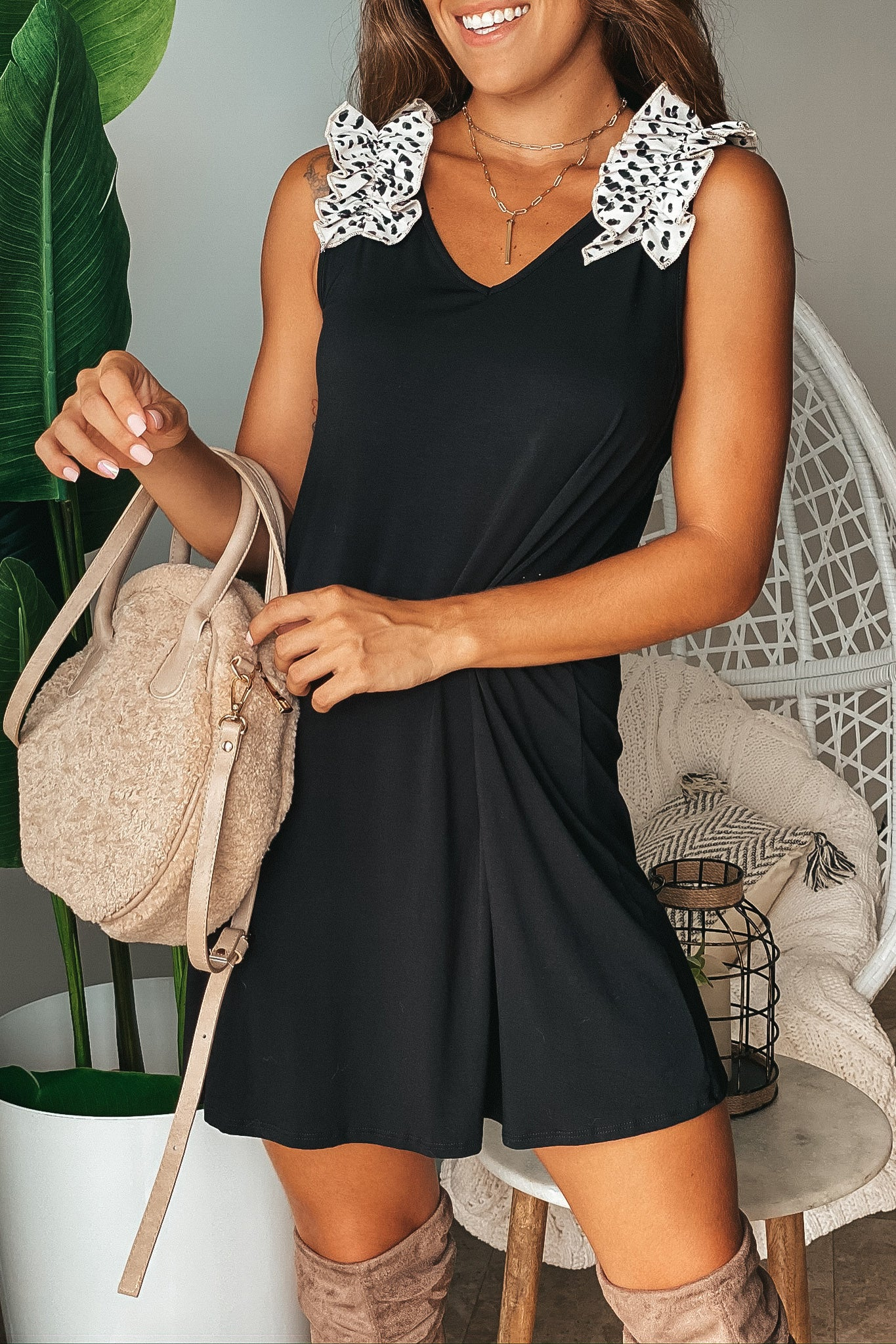 Lifestyle black short dress with leopard ruffles