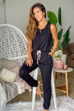 Lifestyle black sleeveless jumpsuit with drawstrings