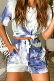Lifestyle blue and gray tie dye top and shorts set