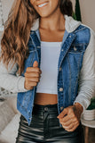 Lifestyle blue jean jacket with gray hood